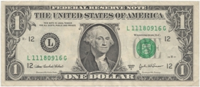 United_States one dollar bill obverse