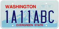 Washington State License Plate Seven Characters
