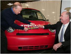 Indiana governor Mitch Daniels (left) and THINK CEO Richard Canny.