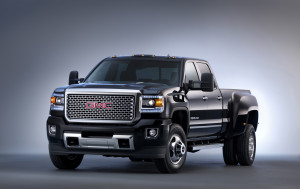2015 GMC Sierra Denali 3500 HD crew cab pickup with dual rear wh